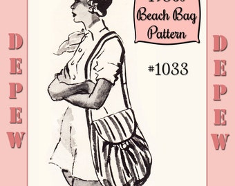 1950's Style Ladies' Drawstring Beach Utility Bag Sewing Pattern Depew #1033 - INSTANT DOWNLOAD