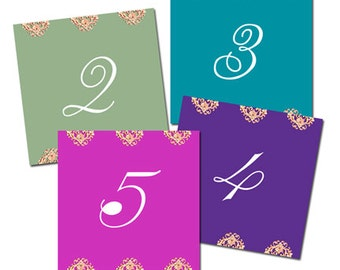 10 Bejeweled Table Number Cards