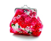Pink Floral Cotton Purse - Size Small - Ready To Ship