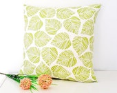 Green And White Leaf Cushion Cover 18x18 Inch - MADE TO ORDER