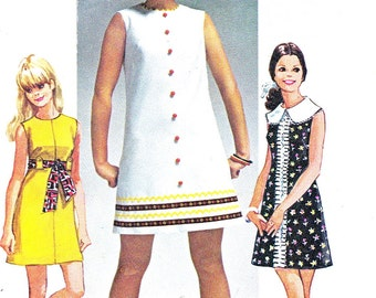 1960s Dress Pattern Simplicity 8609 Mod Sleeveless A Line Mini Dress Peter Pan Collar How to Sew Vintage Sewing Pattern Bust 30 1/2 Uncut