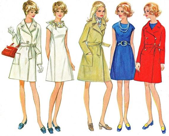 des années 60 robe manteau patron Butterick 5599 Mod princesse couture A  ligne robe manches Raglan