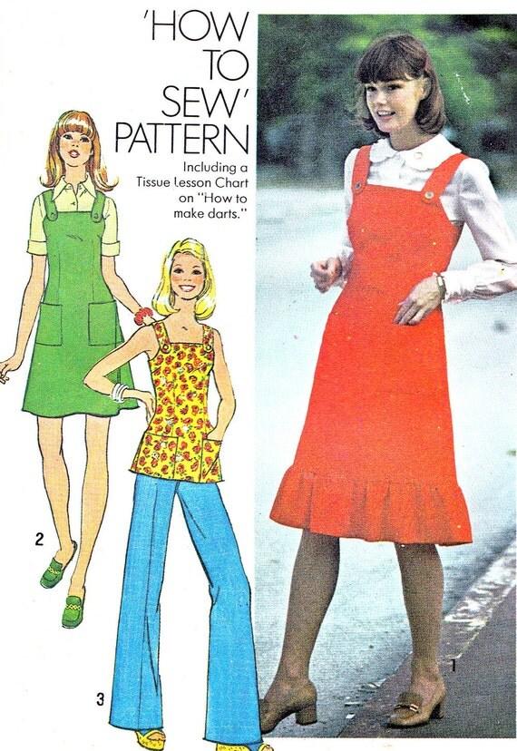1970s Ruffled Hem Pinafore Dress Jumper Square Neck Pinfore