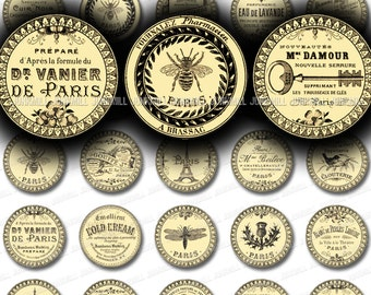 "PARIS JARDIN - Digital Printable Collage Sheet - French Victorian Typography, Eiffel Tower, Parisian Birds & Flowers, 1"" Circle, 25 mm Round"