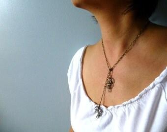 Sparkles Leaves Lariat Necklace - Minimalist Lariat - Bridal Leaf Necklace