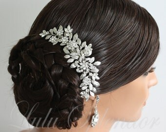 Wedding Hairpiece Leaf Bridal Hair Comb Leaf Comb Swarovski Crystal Vintage Wedding Hair Accessory LEAFY SABINE