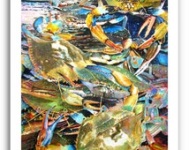"Seafood Maryland Blue Crab Art 11x14"" and 13x19"" Print Signed and Numbered"
