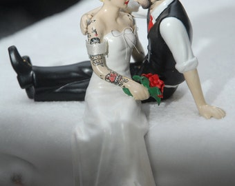 tattooed wedding cake topper bride and groom tattoos custom painted and personalized to resemble