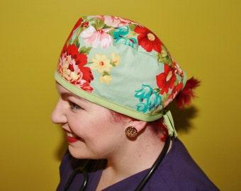 Surgical Scrub Caps, Vet/nurse/doctor/medical, Rockabilly/Retro/Vintage inspired - Floral flower fabric