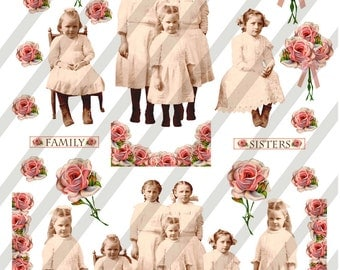 Digital Collage Sheet Vintage Children group Images With Roses (Sheet no. O178) instant Download