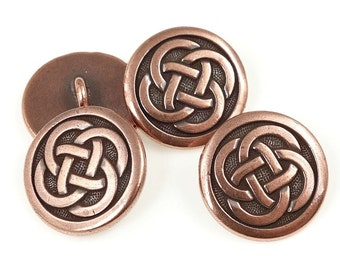 Celtic Buttons Antique Copper Button Findings TierraCast Leather Wrap Bracelet Clasp Findings Celtic Mindfulness Yoga Jewelry (PF2140)