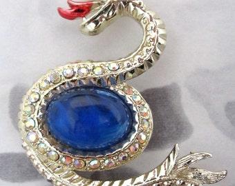 vintage rhinestone serpent snake brooch - j5399