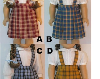 1944-1069 Plaid Pleated Skirt with Suspenders fits Molly, Emily or other 18 Inch Doll
