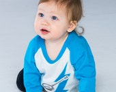 Banjo Toddler Baseball Style Ringer Shirt Three Quarter Length Sleeves Screen-printed and Appliqued Turquoise Lightning Bolt and Banjo