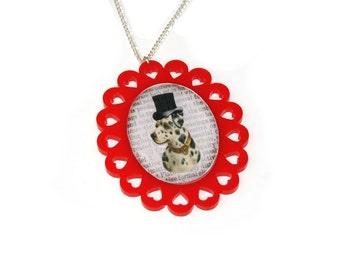 Dog Necklace, Dalmatian Illustration Necklace OOAK, Animal Necklace