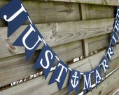 Just Married Banner in Navy Blue and White with Anchor - Nautical Wedding Decoration