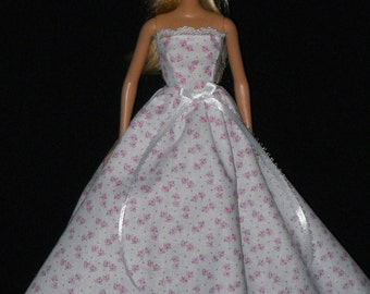 Barbie Doll Dress Handmade Gown White with Pink Print and Lace