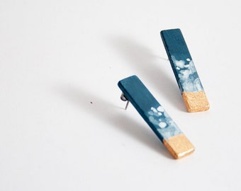 Blue white and gold.  Hand painted stud sticks earrings. Surgical stainless steel posts. Minimalist earrings.