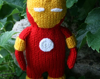 Ironman Hand Knit -soft stuffed toy doll