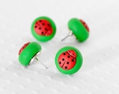 Ladybug Pushpins Red Polka Dot Thumbtacks in Grass Green Polymer Clay Fun for Summer and Spring. Handmade Gift Set of 4