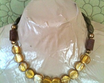 SHEENA gold foil glass statement necklace