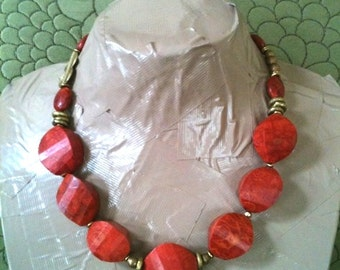 ON SALE VALERIA faceted sponge coral and brass statement necklace