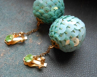 vintage mermaid earrrings - sea foam greenish blue sequined clip on earrings