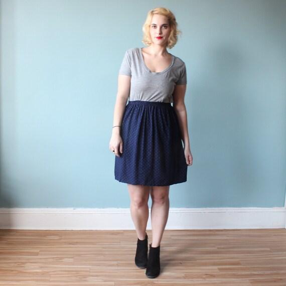 plus size skirt navy blue skirt 1980s xl