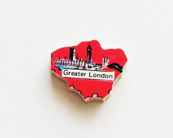 Greater London England Brooch - Lapel Pin / Upcycled 1960s Wood Puzzle Piece / Unique Wearable History Gift Idea / Timeless Gift Under 20
