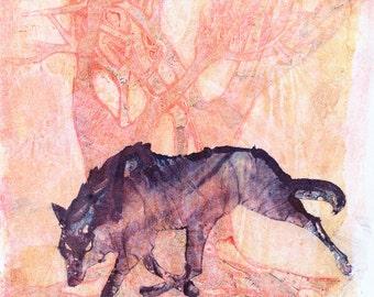 Original Wolf Art MonoPrint, OOAK Abstract Nature Art, Original Abstract Art, Modern Landscape Art, Hand-pressed Monoprint One of a Kind