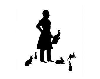 Original The Magician Handcut Silhouette Papercut Black and White Rabbit Bunny Hare Magic