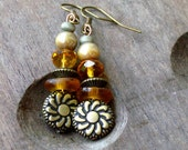 SUNFLOWER - Earrings, YELLOW, Brass, Crystal, Wood, SUMMER Sunflower Earrings, Ear, Casual, Simple, Light Weight, Beaded, Stack, Pierced