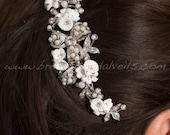 Wedding Hair Comb, Rhinestone Hair Comb, Bridal Pearl Hair Comb, Porcelain Flower Headpiece - Carolina
