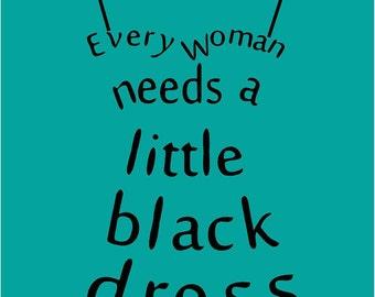 Little Black Dress Wall Decal Vinyl Lettering Sticker Words Decor