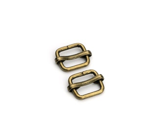 """10pcs - 3/8"""" Adjustable Slide Buckle - Antique Brass - Free Shipping (SLIDE BUCKLE SBK-102)"""