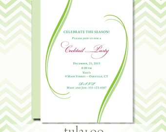 """Holiday Elegance Party Invitation - """"Curves"""""""