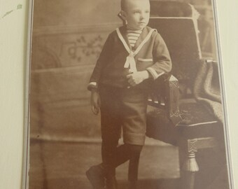 Antique Cabinet Card Young Boy in Sailor Shirt and Short Pants CC403