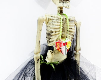 Dressed Skeleton Miss Otis Regrets, Skeleton with Tutu, Goth Wedding, Halloween Decoration, Ballerina Skeleton Doll, Heart Red Black White