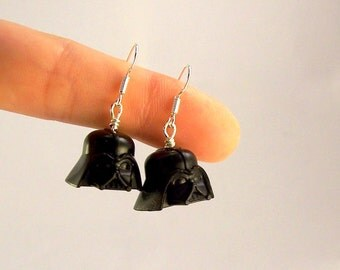 Darth Vader® Helmet - Star Wars® Inspired Earrings *Rare* Sterling Silver .925 Stamped Hooks - Fan Art Crafted From LEGO® Elements