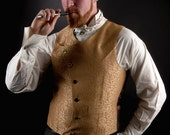"Steampunk Vest Mens Waistcoat "" Asymmetrical Mens Vest "" Gold Scroll Victorian Wedding Groom- Custom to Order"