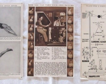 """VINTAGE ILLUSTRATIONS- Male divers, Early photography directions, Model plane instructions -antique prints from """"Book of Knowledge"""" 1912"""