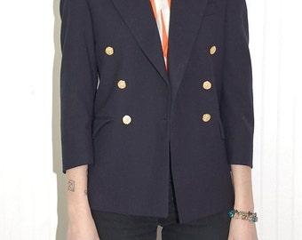 Vintage Navy Blue Military Boyfriend Skinny Blazer Jacket - XS/S