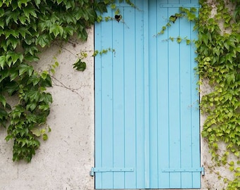 "Paris Photography, ""Blue Shutters"" Paris Print Extra Large Wall Art Prints, Paris Wall Decor"