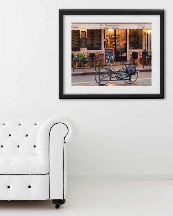 "SALE! Paris Print, ""Cafe Bike"" Extra Large Wall Art, Paris Photography Art Print, Oversized Art, Fine Art Photography Paris Decor"