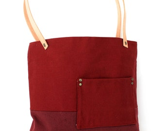 half off sale---BTN Color Block Tote Bag- Red Brick and Burgundy Canvas with Leather Straps