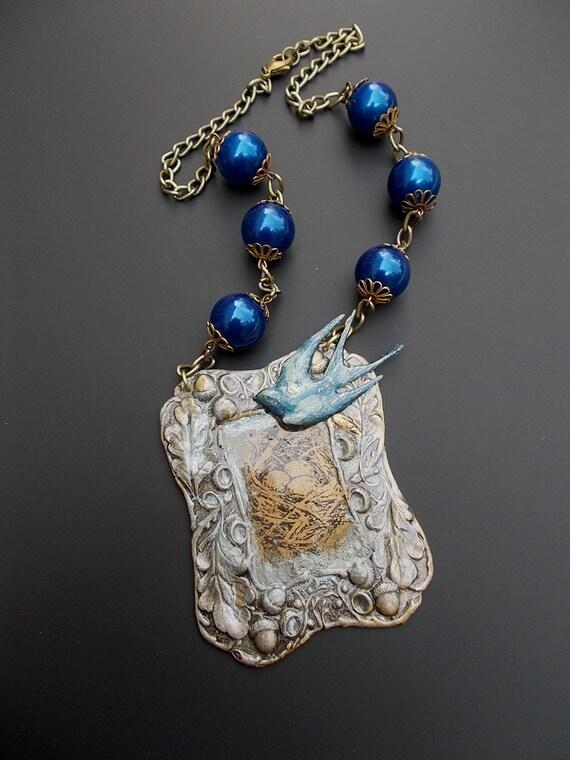 bluebird necklace blue bird jewelry mixed media by lilisgems
