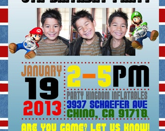 Video Game Gamer Super Brothers Racetrack Party Invitation Choose Your Pattern DIY Printable OR Printed Card