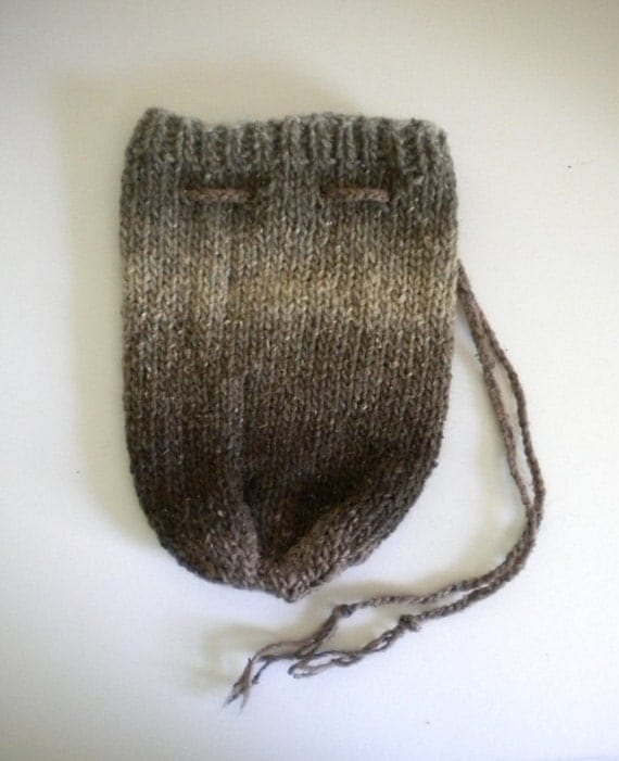 Drawstring Bag / Knitted Pouch / Knit Purse / Brown ...