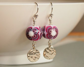 Retro Earrings, Artisan Lampwork, Pink Crimson, Flower, Sterling Silver - MOD FLOWER