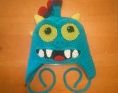 PDF PATTERN ONLY - Crochet Grub Worm Monster Sky Creature Hat - Three Sizes Included - Instant Download